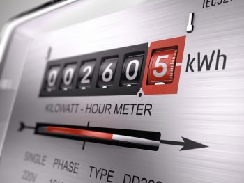 Kilowatt hour electric meter, power supply meter - closeup view